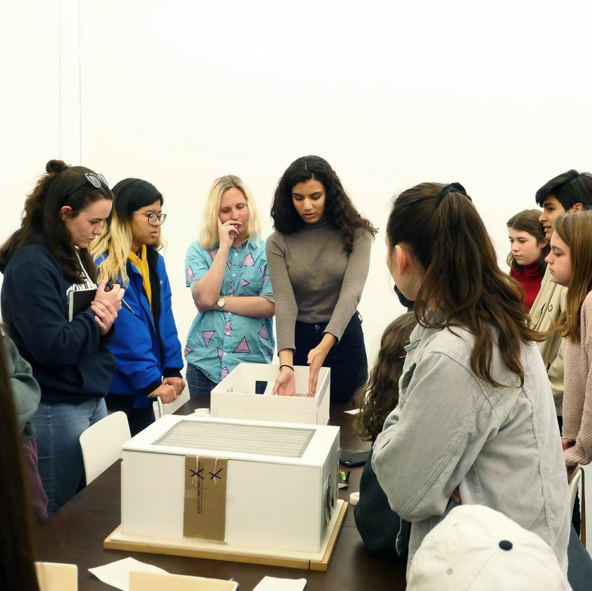 Chris Christion doing Exhibition Design workshop ArtStart students