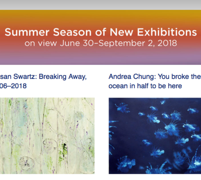 Susan Swartz: Breaking Away & Andrea Chung: You broke the ocean in half to be here exhibtions on view:  June 30 - September 2, 2018