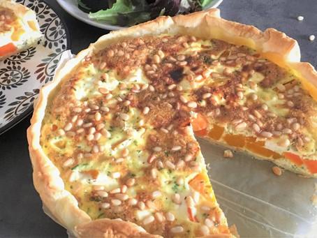 Tarte à la butternut, carottes, ricotta et pignons de pin