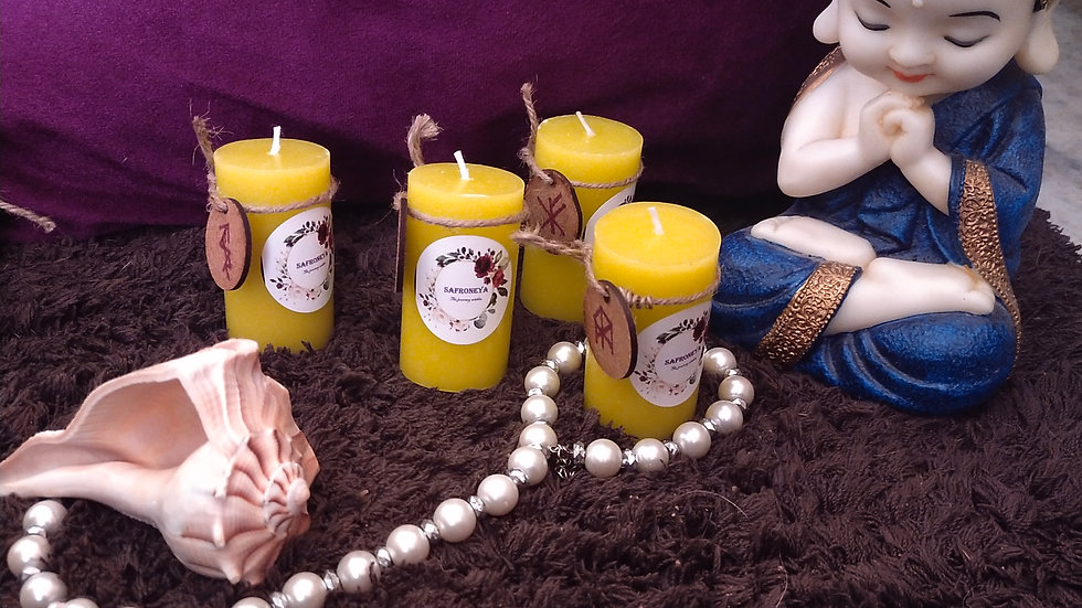 Runic scented candles for abundance (set of 4)