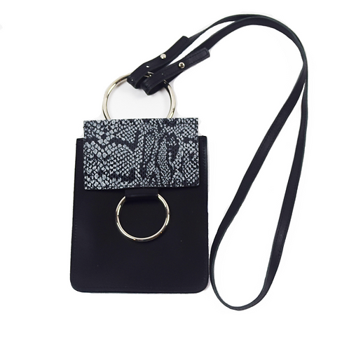 Concert Bag- Black with Salt and Pepper Snake Design