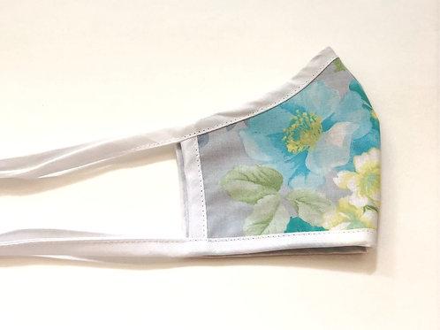 Blue Floral on Grey