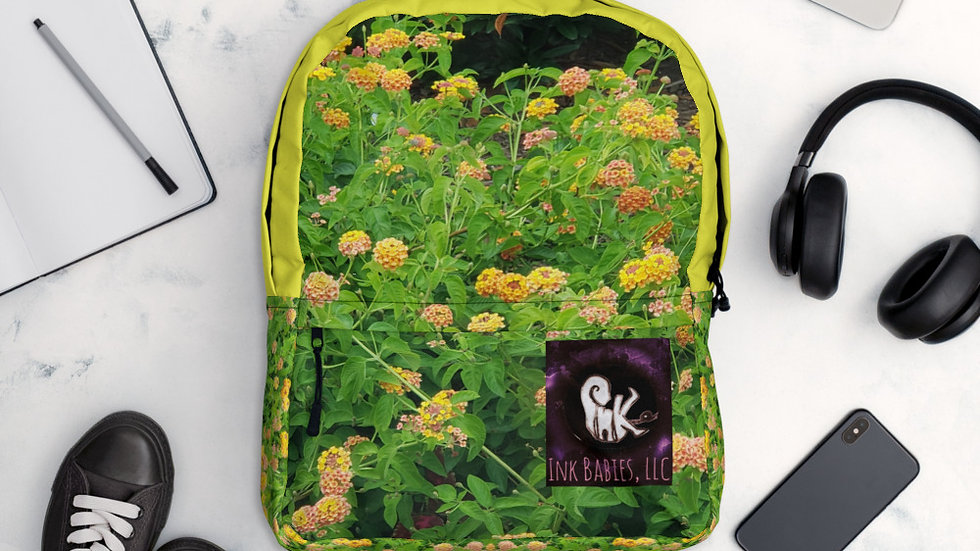 Yellow Floral Ink Babies LLC Backpack