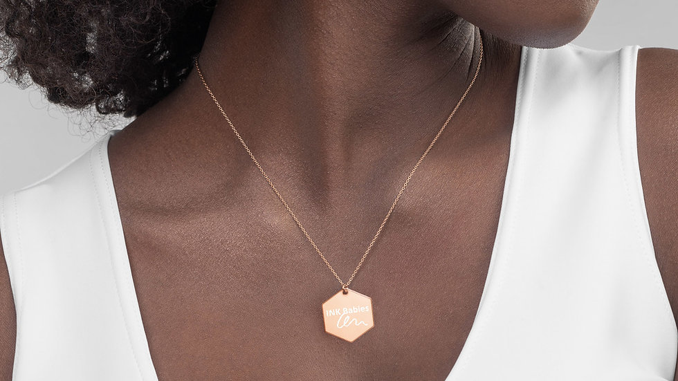 INK Babies Engraved Silver Hexagon Necklace