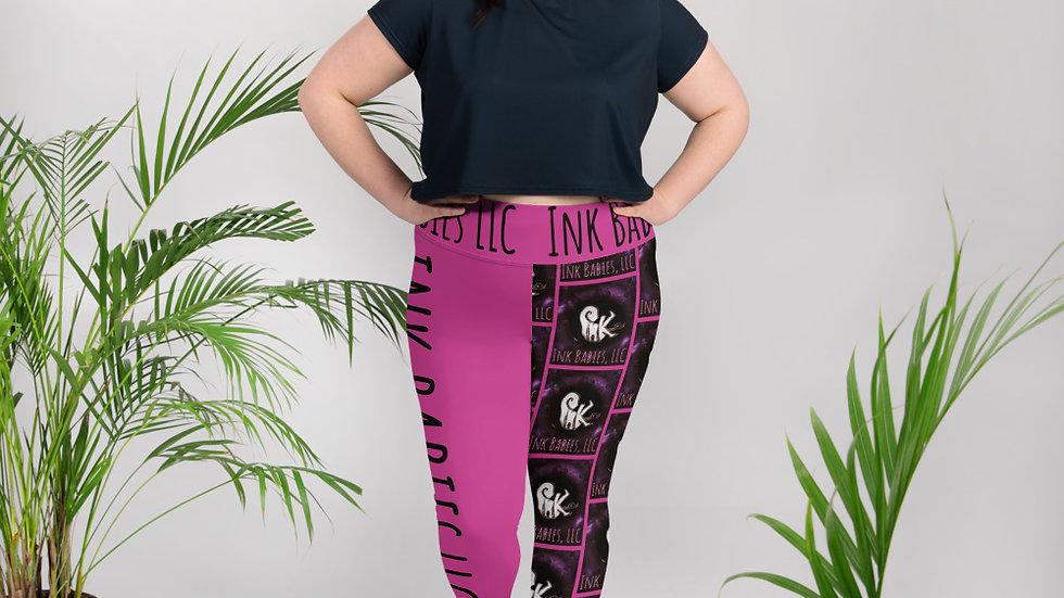 Ink Babies LLC Harlequin Pink All-Over Print Plus Size Leggings