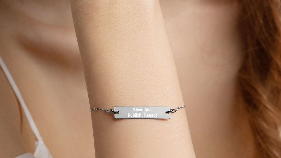 Bleed Ink, Publish, Repeat Engraved Silver Bar Chain Bracelet