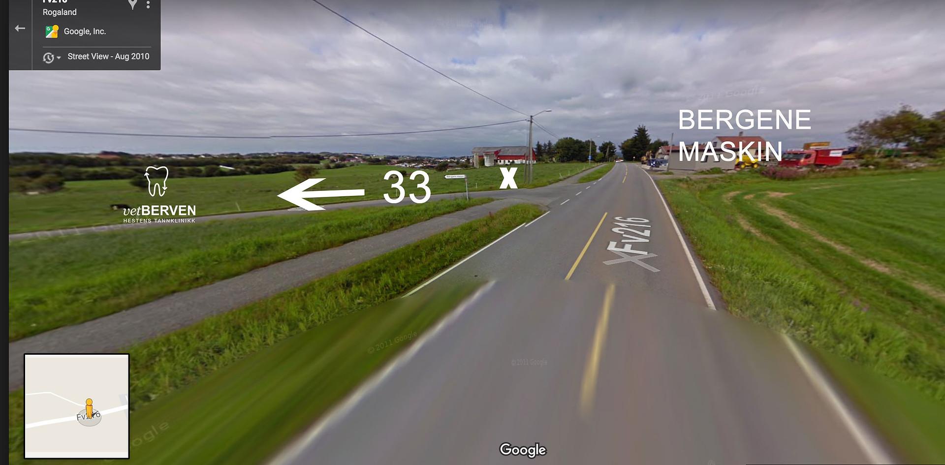 Bergene Maskin - motsatt side avkjørsel til nr. 33