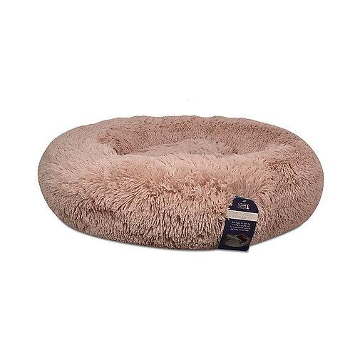Calming Fur Round Pet Bed in Blush