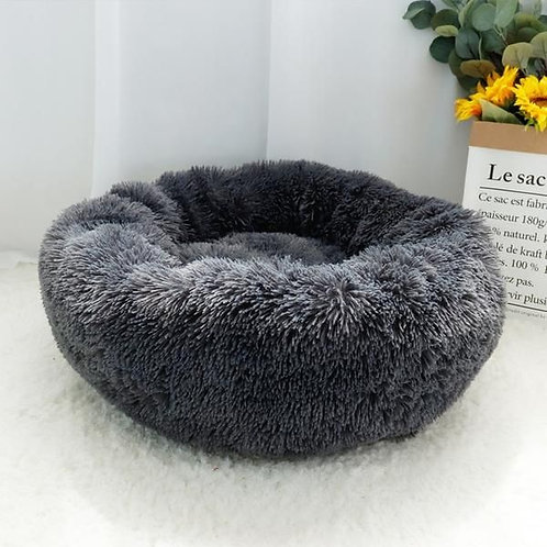 Calming Fur Round Pet Bed in Charcoal