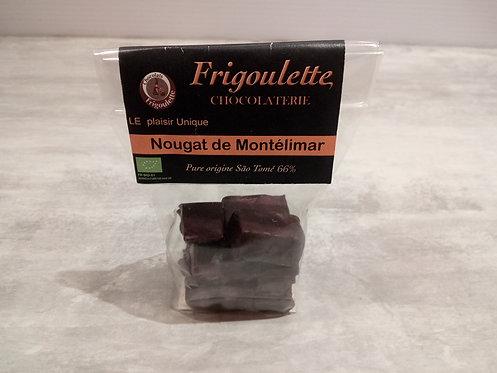 Nougat de Montélimar bio enrobé de Chocolat noir 66% 90g