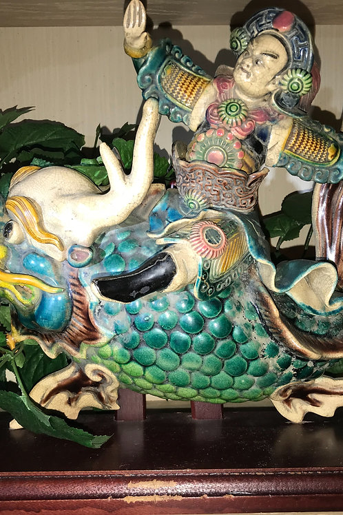 CHINESE TEMPLE TILE WARRIOR ON FISH