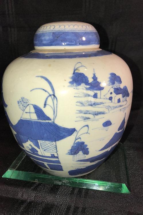 LG. BLUE & WHITE LIDDED MELON JAR
