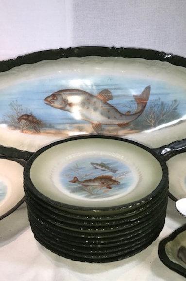 Antique Fish Plate 16 pc. Set