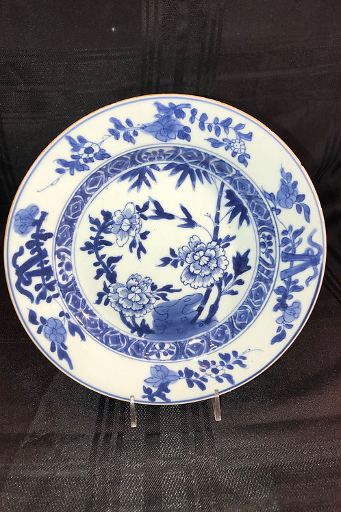CANTON EXPORT BLUE & WHITE FLORAL BOWL