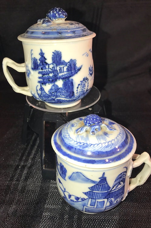 SET-2 CHINESE BLUE & WHITE LIDDED TEA CUPS