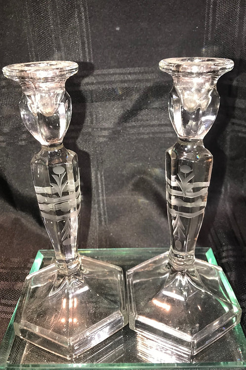 VINTAGE ETCHED CANDLESTICKS
