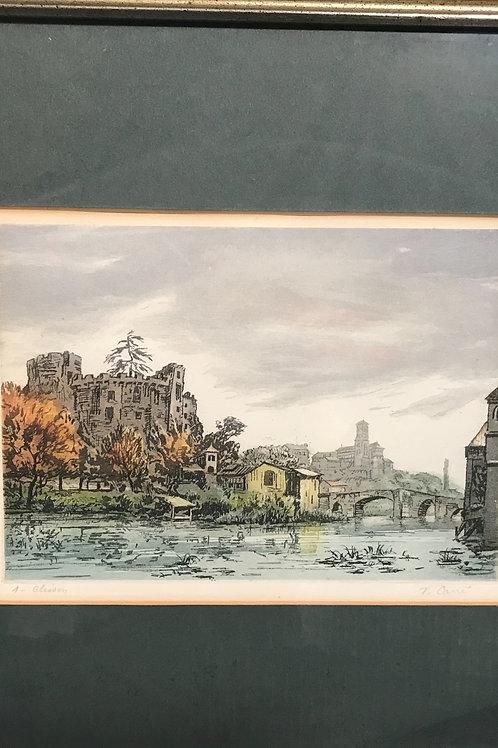"""V. Carre' """"Chateau de Clisson"""" Colored Block Print"""