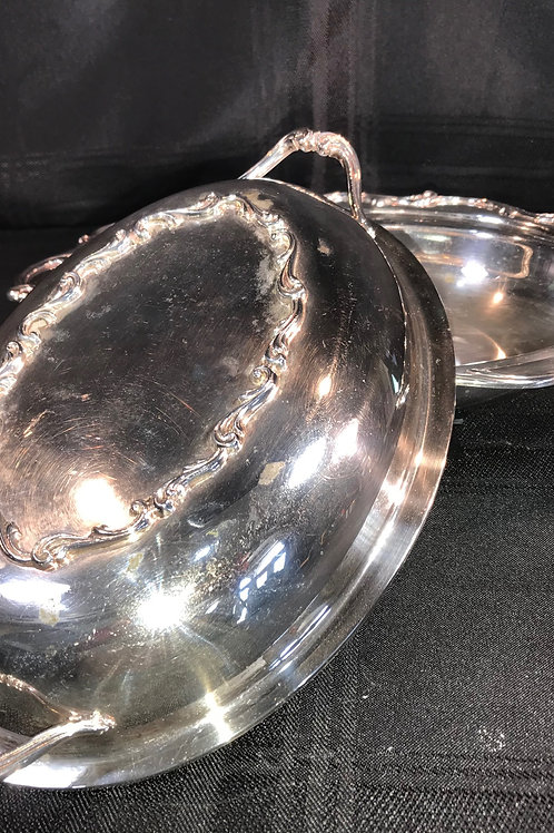 VINTAGE SILVER PLATE COVERED CASSEROLE