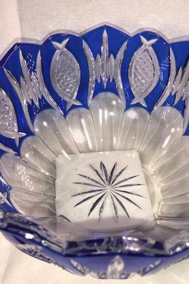 Cobalt & Clear Bohemian Crystal Bowl