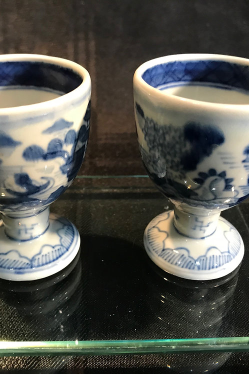 CANTON PORCELAIN FOOTED TEA CUPS-PAIR