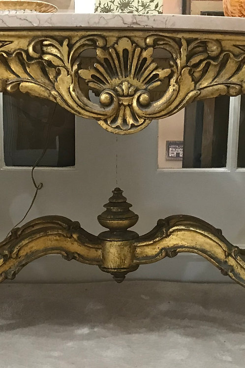 Hand Carved Gold Leaf Marble Top Tea Table