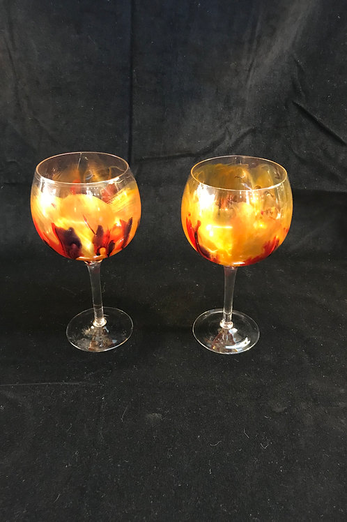 2 Ai Gonoi Wine glasses.  Signed,hand blown and hand painted