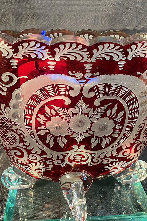 BOHEMIAN RUBY TO CLEAR CRYSTAL VASE