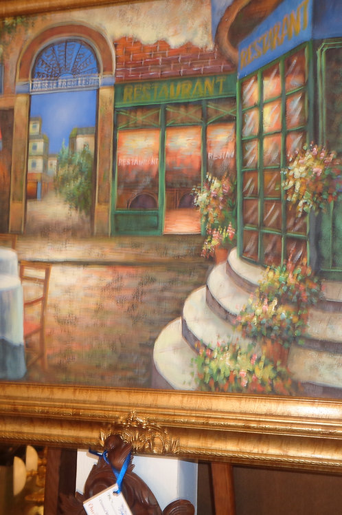 W. James French Cafe Scene Oil Painting