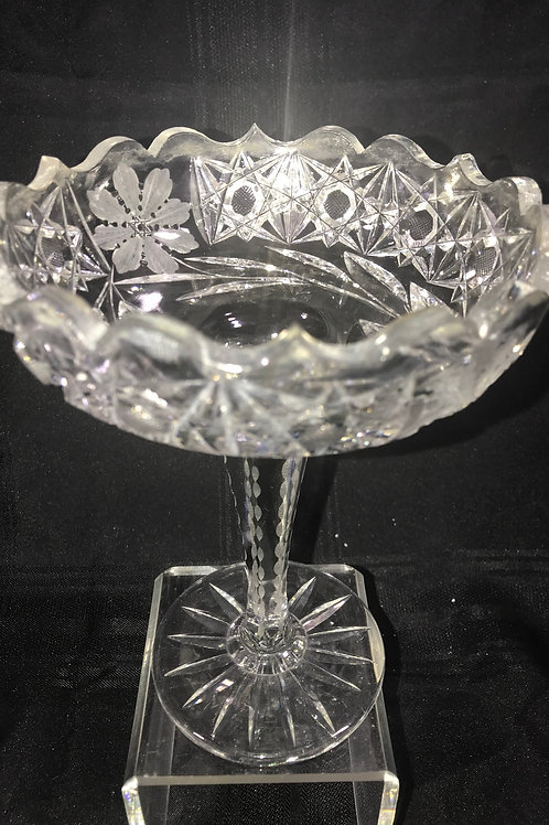 HAND CUT CRYSTAL COMPOTE DISH