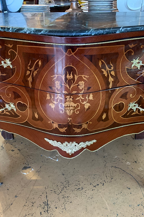 Marble Top French inlay Bombay Chest