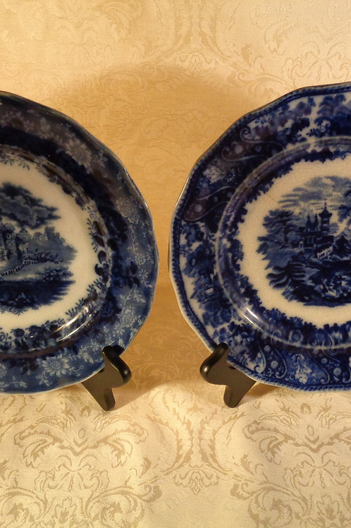 Pair of 19th Century deep blue Flo-Blue Plate