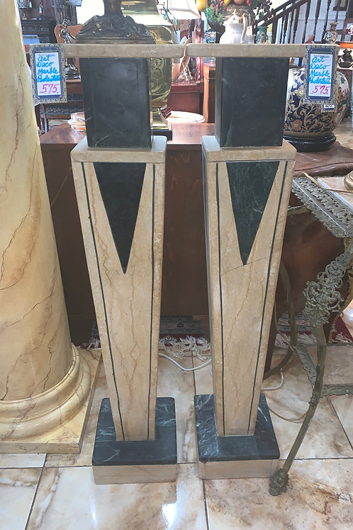 Early 20th Century Art-Deco Marble Pedestal-PAIR