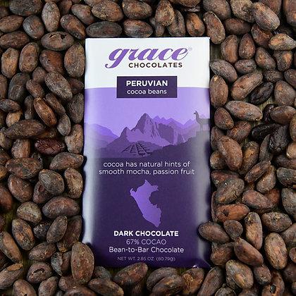 67% Cocao Peruvian Dark Chocolate Bar - 2.85 oz.