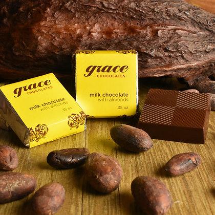 45% Cocao Madagascan Milk Chocolate w/Almond Square 4-Pack - .35 oz.