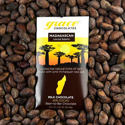45% Cocao Madagascan Milk Chocolate with Pink Himalayan Sea Salt Bar - 2.85 oz.