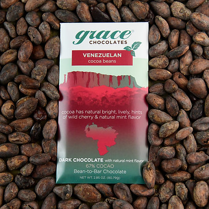 67% Cocao Venezuelan Dark with Mint Chocolate Bar - 2.85 oz.