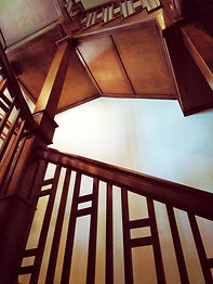 House Painter Lacquer Wood Finishing by Estes Park painting company toning wood finish on custom staircase near boulder colorado and Niwat Colorado and Longmont Colorado Staining and Spraying Lacqure finish as a paint contractor from estes park Colorado