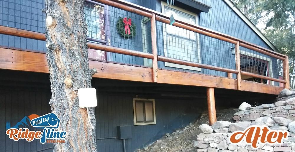 Pinewood Springs, Lyons, Estes Park Colorado Deck House painting staining Benjamin Moore Sherwin Williams