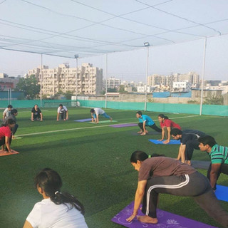 Group yoga session for society residents
