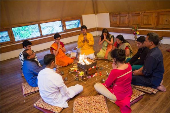 Performing Yagya ceremony
