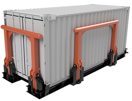 Seafasten offshore containers by means of the OB Claw