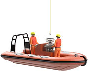 Offshore transfer of crew by means of the OB Boat Lift XS
