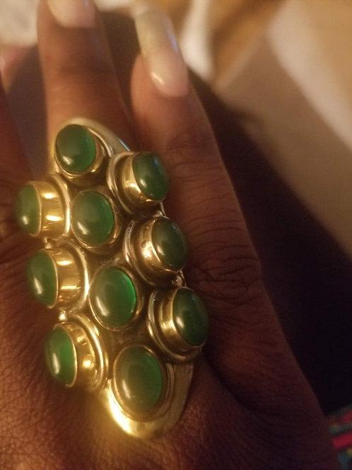 Brass Ring with Aventurine Gemstones