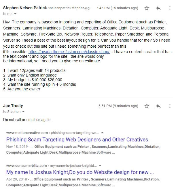 Phishers are targeting Web Designers with Phishing Scams like this one