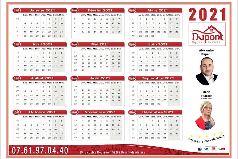 Mini calendrier format carte visite