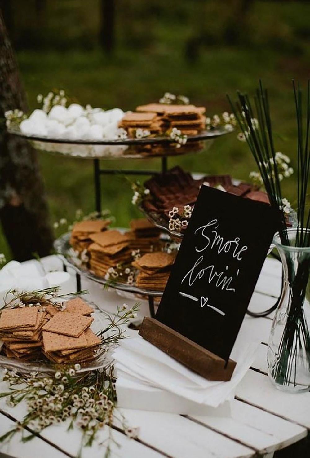 Fall wedding reception smore bar