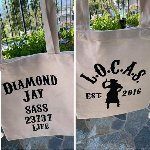 Custom Canvas LOCAS Bag With SASS Number and Alias