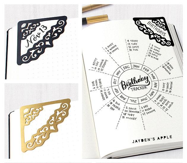 Bullet Journal Corner Stencil Bookmarks