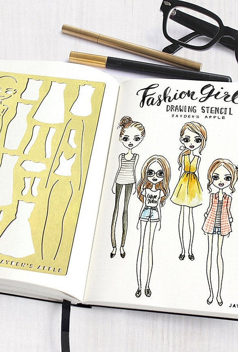 Bullet Journal Stencil - Fashion Girl