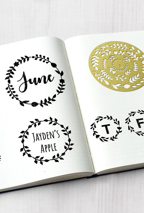 Bullet Journal / Planner Stencil - Wreaths
